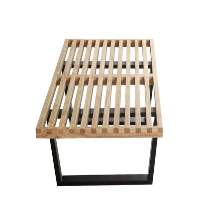 "Wood Bench Size: 14"" H x 48"" W x 18"" D, Color: Natural"