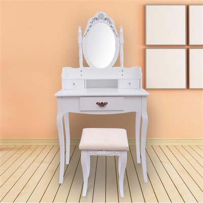 Homcom Antique 3 Drawer Dressing Table Set with Mirror