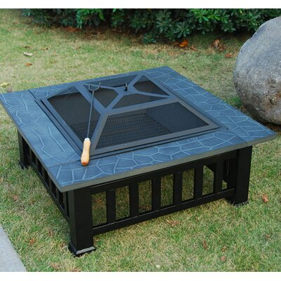 Homcom Faux Stone Steel Charcoal Fire Pit