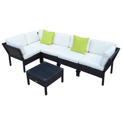Homcom Outsunny 4 Seater Sectional Sofa Set with Cushions