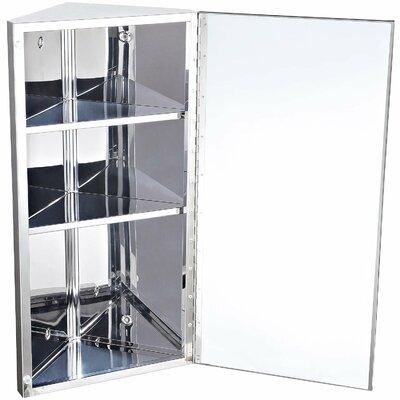 Homcom 30 x 60cm Corner Mount Flat Mirror Cabinet