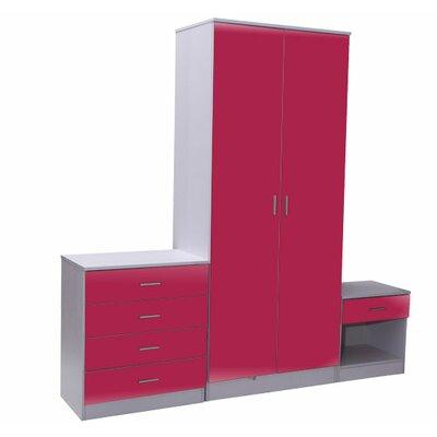 Homcom High Gloss 3 Piece Furniture Bedroom Set