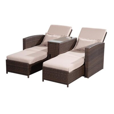 Homcom Outsunny Double Sun Lounger with Cushion
