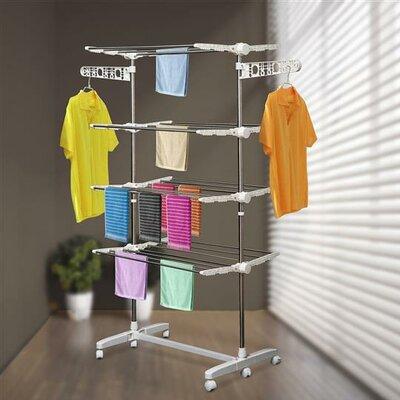 Homcom Folding Cloth Adjustable Garment Rack with Wheels