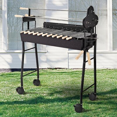Homcom 33.5 cm Charcoal BBQ Trolley Charcoal Grill with 4 Wheels