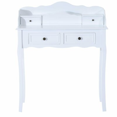 Homcom Shabby Elegance Dividers Makeup Storage Wooden Console Dressing Table with 4 Drawers