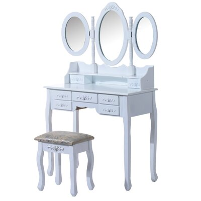 Homcom Shabby Elegance Jewelry Cosmetic Makeup Dressing Table Set with Mirror