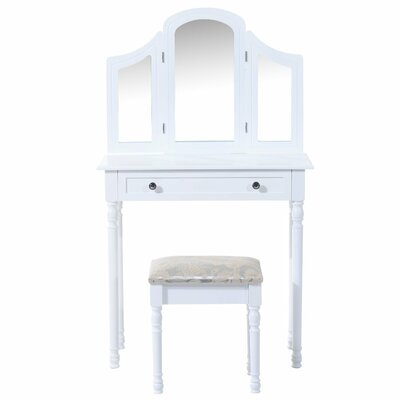 Homcom Wooden Furniture Makeup Cosmetics Large Dressing Table Set with Mirror