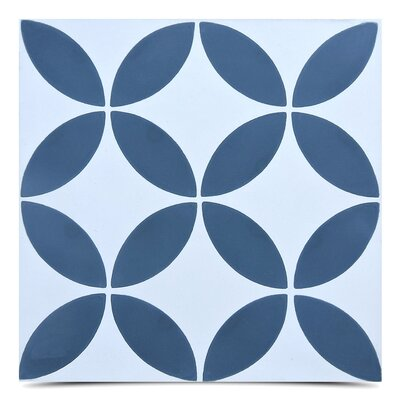 "Amlo Handmade 8"" x 8"" Cement Field Tile in Navy Blue/White"