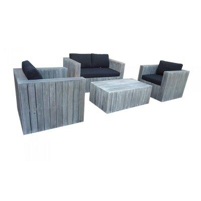 LandwoodFurniture 4-tlg. Landhauslounge-Set Solid mit Kissen