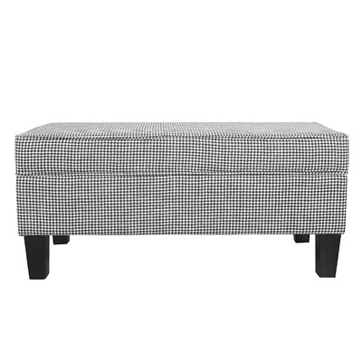 Patterson Ebony Houndstooth Upholstered Storage Bench with Piping