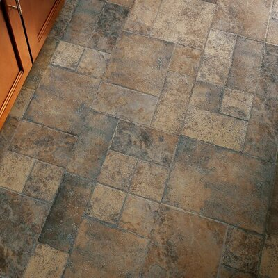 """Stones and Ceramics 15.94"""" x 47.75"""" x 8.3mm Tile Laminate Flooring in Weathered Way Earthen Copper"""