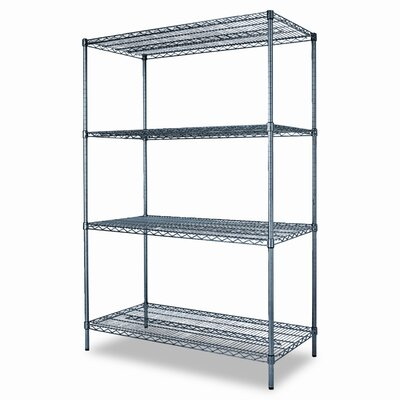 "Alera Industrial Wire Shelving Starter Kit 72"" H x 48"" W 3 Shelf Unit"