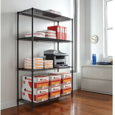 "72"" H x 48"" W Industrial Shelf Shelving Unit Starter Finish: Black"