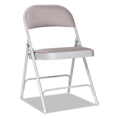 "Fabric Padded Folding Chair Size: 31.5"" H x 18.5"" W x 18.75"" D, Color: Light Gray"