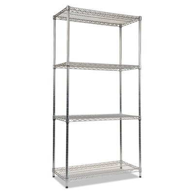 "72"" H x 36"" W Industrial Heavy- Duty Wire Shelving Unit Starter Finish: Silver"