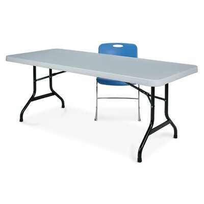 """Valuelite Blow-Molded Folding Table with Stone Grey Top Size: 30"""" X 60"""", Finish: Stone Gray"""