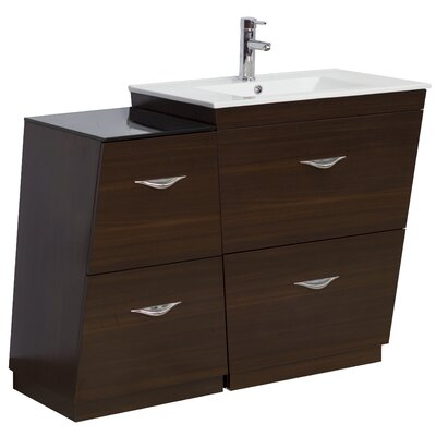 "41"" Single Bathroom Vanity Set Faucet Mount: Single, Hardware Finish: Brushed Nickel"