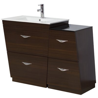 "44"" Single Bathroom Vanity Set Faucet Mount: Single, Hardware Finish: Aluminum"