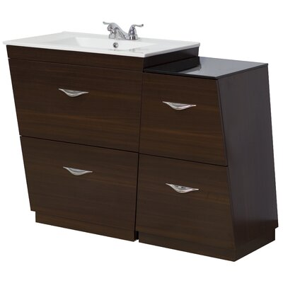 "44"" Single Bathroom Vanity Set Faucet Mount: 4"" Off Center, Hardware Finish: Aluminum"