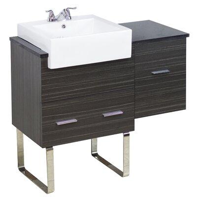 "38"" Single Modern Bathroom Vanity Set Faucet Mount: 8"" Off Center, Hardware Finish: Aluminum"