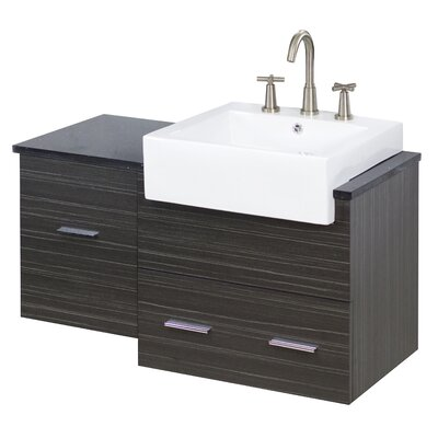 "38"" Single Modern Wall Mount Bathroom Vanity Set Faucet Mount: 8"" Off Center, Hardware Finish: Aluminum"