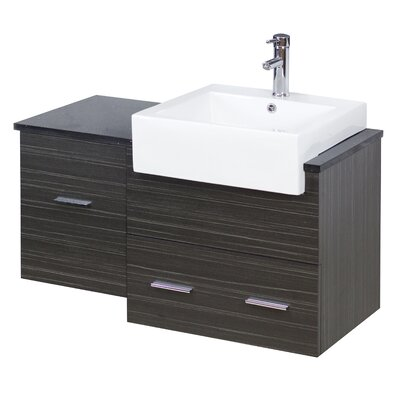 "38"" Single Modern Wall Mount Bathroom Vanity Set Faucet Mount: Single, Hardware Finish: Aluminum"