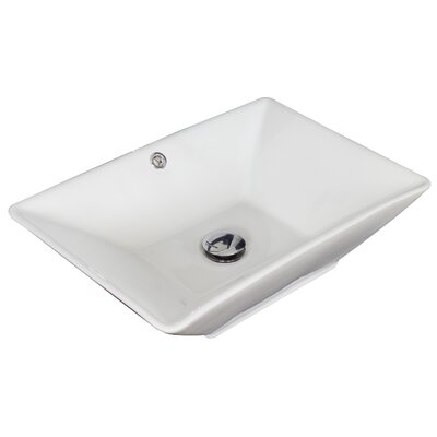 Ceramic Rectangular Vessel Bathroom Sink with Overflow Hardware Finish: Chrome