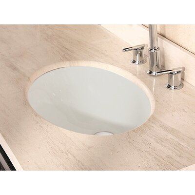 American Imaginations Ceramic Oval Undermount Bathroom Sink with Overflow Sink Finish: Biscuit, Hardware Finish: Chrome