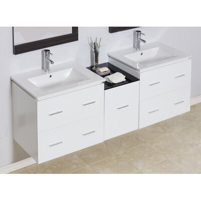 "Modern 60"" Double Vanity Base Hardware Finish: Chrome"