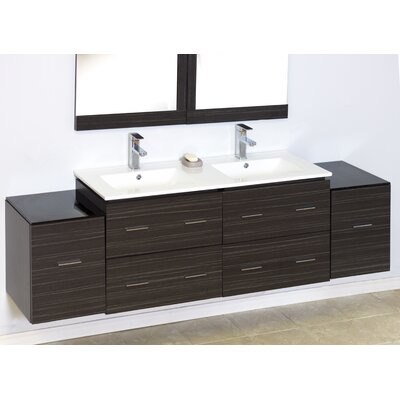 "Modern 74"" Double Vanity Base Hardware Finish: Chrome"