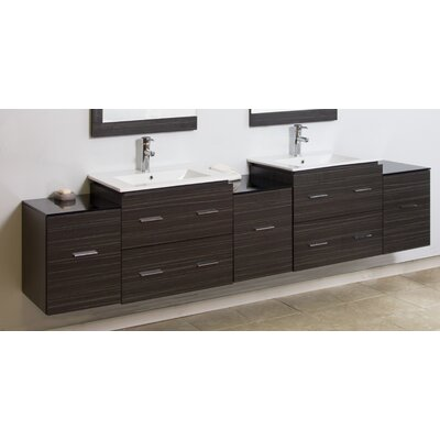 "Modern 88"" Double Vanity Base Hardware Finish: Chrome"