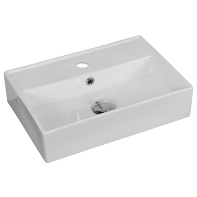 Ceramic Rectangular Vessel Bathroom Sink with Overflow Faucet Mount: Single Hole, Hardware Finish: White