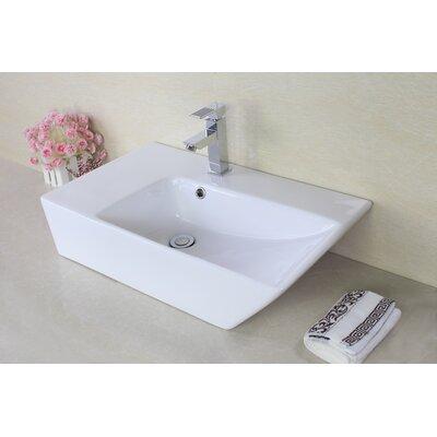 Ceramic Rectangular Vessel Bathroom Sink with Overflow