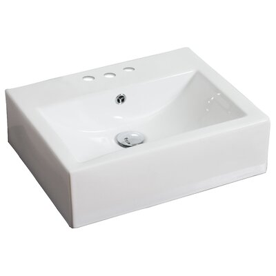 """Ceramic 21"""" Wall Mount Bathroom Sink with Overflow Faucet Mount: 4"""" Off Center, Hardware Finish: Stainless Steel"""