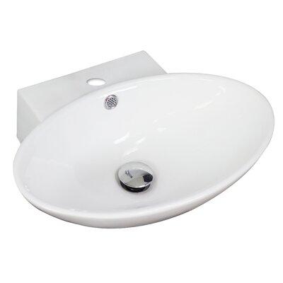 Ceramic Oval Vessel Bathroom Sink with Overflow Hardware Finish: Chrome