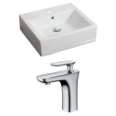 "Ceramic 21"" Wall Mount Bathroom Sink with Faucet and Overflow"