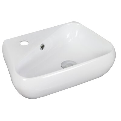 "Ceramic 18"" Wall Mount Bathroom Sink with Overflow"