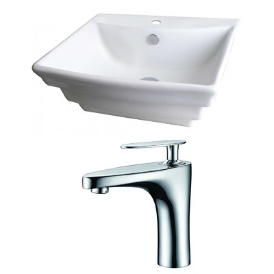 "Ceramic 20"" Wall Mount Bathroom Sink with Faucet and Overflow"