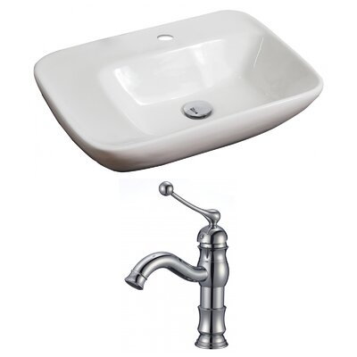 "Ceramic 24"" Wall Mount Bathroom Sink with Faucet"
