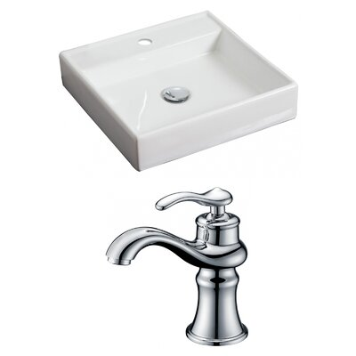 Ceramic Square Vessel Bathroom Sink with Faucet