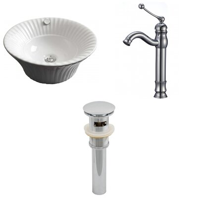 Specialty Ceramic Circular Vessel Bathroom Sink with Faucet and Overflow