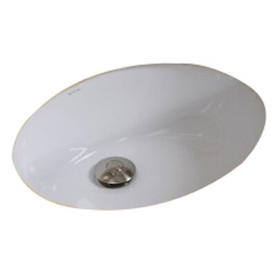 American Imaginations Ceramic Oval Undermount Bathroom Sink with Overflow Sink Finish: White, Hardware Finish: Stainless Steel