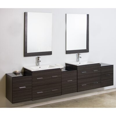 """90"""" Double Modern Wall Mount Bathroom Vanity Set with Mirror Finish: Brushed Nickel"""