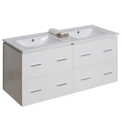 "48"" Double Modern Wall Mount Bathroom Vanity Set Hardware Finish: Chrome"