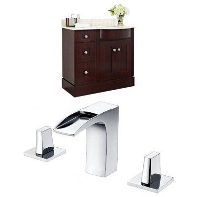 "Kester 36"" Single Bathroom Vanity Set with Stone Top Sink Finish: White"