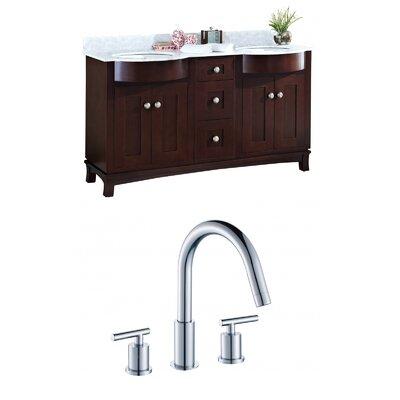 "Kester 60"" Rectangular Wood-Veneer Double Bathroom Vanity Set Sink Finish: Biscuit"