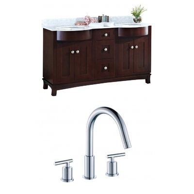 "Kester 60"" Rectangular Wood-Veneer Double Bathroom Vanity Set Sink Finish: White"