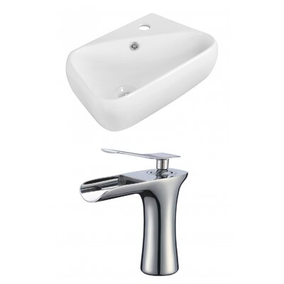 """Ceramic Rectangular Vessel Bathroom Sink with Faucet and Overflow Faucet Mount: 8"""" Widespread"""