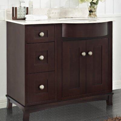 "Kester 36"" Rectangle Bathroom Vanity Top Finish: White, Faucet Mount: 4"" Center"